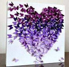 quadro coração borboletas lilás roxo azul