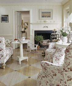 Living Room Flooring Ideas Swedish Style with Whitewashed Diamonds Painting a pattern of large diamonds on old wood floors relaxes a living room in cottage style The post Living Room Flooring Ideas appeared first on Wood Diy. Cottage Style Living Room, Style Cottage, Living Room Sets, Living Spaces, Modern Cottage, Cottage Chic, Old Wood Floors, Painted Wood Floors, Swedish Decor