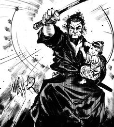 Lone Wolf and Cub.- Check out the little child on his arm. Sweet.