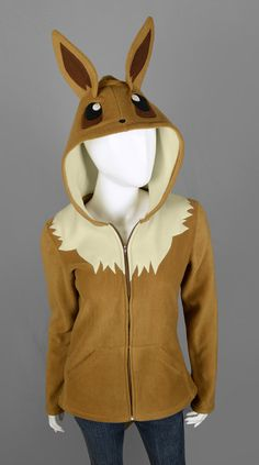 ⌠ eevee hoodie ⌡  This is a brown and light tan fleece hoodie thats been modeled after the pokemon Eevee from the popular video game and cartoon. Its completely handmade and not a purchased hoodie thats been deconstructed or altered.  This hoodie is *MADE TO ORDER* at the size you specify. The sewing time is currently 2 WEEKS after ordering, then the item will be shipped. Therefore, please be aware that the item will reach you after SEWING AND SHIPPING time and schedule accordingly…