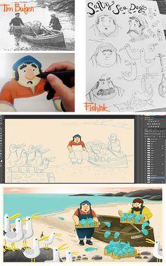 Fishinkblog 9478 Tim Budgen 10 Digital Illustration, Character Illustration, Graphic Illustration, Book Projects, Illustrations And Posters, Book Design, Sketch Inspiration, Drawing For Kids, Drawings