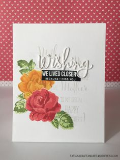 Mother's Day handmade card. Used Altenew Vintage Flowers, #SSSFAVE Wishing Sentiments, #SSSFAVE Fog Dye Ink, CB Fresh Flowers.