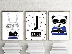 Set of 3 A4 Nursery Bedroom Wall Art Prints-Baby Kids-Personalised Monochrome   eBay