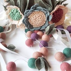 Close up of my new floral mobile. I guess i am in love #floralhanger #floralmobile #feltflowers #feltflowermobile #ribbonmobile #babynursery #floralchandelier #girlnursery #nurserydecor #pasteldecor #flowercrown #floralcrown #flowermagic #feltwoolballs #pocketofmyhome #finditstyleit #craftsposure #craftspire #lukh #etsylithuania #apartmenttherapy #dsfloral #mamafinds #mamaebabona #etsyshop