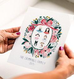Custom Family Portrait Illustration, Digital Printable Portrait, Personalized Family Art, Family Drawing, Gift for Grandma, Gift for Mom