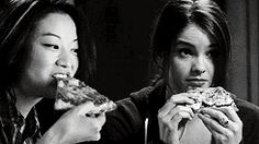 Kira and Malia sharing pizza on their first sleepover :) I will go down with this ship #Malira