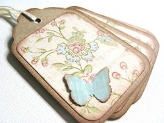 4 Shabby Chic Gift Tags Butterfly Tags Kraft Tags by CatchSomeRaes, $2.00