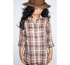 Plaid Button-Down Shirt Light Weight Summer Shirt by Felonwood