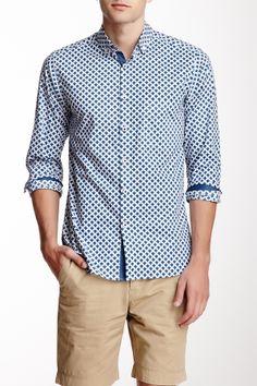 Pure Cotton Micro Collar Printed Long Sleeve Shirt on HauteLook