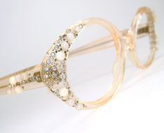 Vintage 60s Peach Cat Eye Glasses Eyeglasses  Sunglasses Frame With Rhinestones and Pearls.
