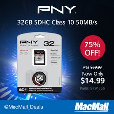 Save $45 on this #PNY 32GB SDHC memory card. #DailyDeal
