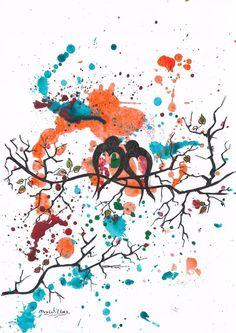Falling In Love by Mrs Wilkes  original painting+Free P&P