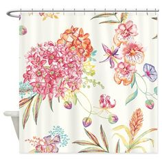Tropical Flowers Shower Curtain on CafePress.com