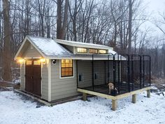 """12x20 """"Garden Shed"""" with transom dormer - customized for a 3-run dog kennel by Horizon Structures."""