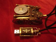 Steampunk mouse and usb flash drive