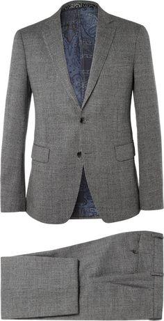 Etro Grey Slim-Fit Patterned Wool Suit Expensive Suits, Wool Suit, Jacket Buttons, Black And Grey, Suit Jacket, Trousers, Slim, Blazer, Legs