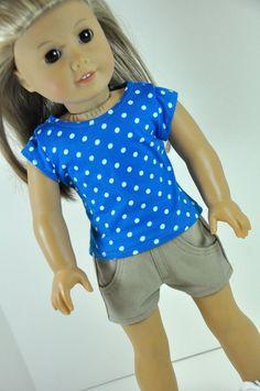 American Girl Doll Clothes Khaki Tan  Jean Shorts by CircleCSewing