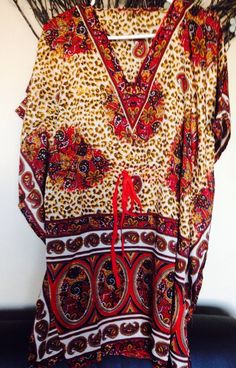 Women Evening Beach Kaftan Dress Tunic Free Size Knee Length Short Sleeve | eBay