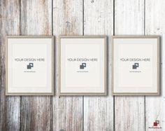 BLACK FRAME MOCKUP Set of 3 Empty Mockup Frame Black by MockupShop