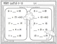 I have been teaching place value and missing addends all week! You can check out my missing addends freebie {reposted} and my latest place . Classroom Freebies, Math Classroom, Kindergarten Math, Maths, Classroom Ideas, Elementary Math, Future Classroom, Teaching First Grade, Student Teaching