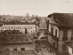 Viaduto do Chá, sendo construído, em 1862.