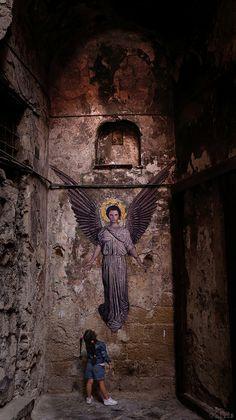AngeL by Zilda naples street art painting abbott handerson thayer 3d Street Art, Street Art Graffiti, Street Artists, Banksy, Angels Among Us, Angels And Demons, Art Public, Urbane Kunst, Instalation Art