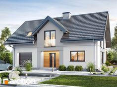 Dom w jabłonkach 12 Beautiful House Plans, Simple House Plans, Village House Design, Village Houses, Bungalow Exterior, Dream House Exterior, Cabin House Plans, Dream House Plans, Carriage House Plans