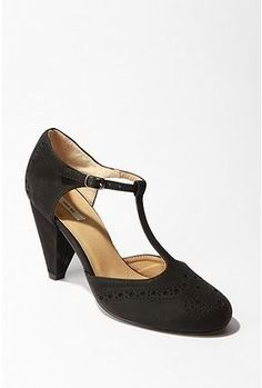 If you are looking for a little more pizazz, try a t-strap shoe with a low, thick heel. Perfect for dancing!