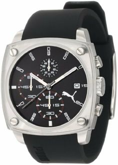 PUMA Men's PU102591002 Shade Large Three-Hand Date Silver Black Watch PUMA. $86.40. Two year international watch warranty. Water-resistant to 165 feet (50 M). Quartz movement. Comes with PUMA signature packaging. Case diameter: 40 mm