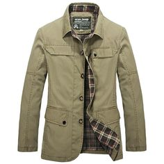 Fabric Material:  100%Cotton 	 Lining Material: Polyester  	 Closure Type:   Buttons  	Collar: Turndown Collar 	 Decoration:   Pockets, Button  	 Thickness:   Standard  	 Color:   Khaki, Army Green, Black  	 Occasion:   Casual, Business  	 Season:   Spring, Autumn, Winter  	 Tag Size: L, XL, 2XL, 3XL, 4XL  	 	 	  Package included:   	 1*Jacket    	 	 	  Please Note:             1.Please see the Size Reference to find the correct size.