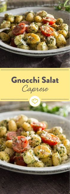 Make your gnocchi into a salad: with green pesto, mozzarella and fresh tomatoes . - Make your gnocchi into a salad: with green pesto, mozzarella and fresh tomatoes, the small potato d - Gnocchi Pesto, Gnocchi Salat, Grilling Recipes, Veggie Recipes, Salad Recipes, Vegetarian Recipes, Potato Recipes, Healthy Recipes, Italian Recipes