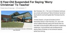 9 Year Old Suspended for Saying Merry Christmas' - Hoax Christmas Greetings, Merry Christmas, Facebook Scams, Fake News Stories, E Day, 9 Year Olds, Elementary Schools, Sayings, Tattoo