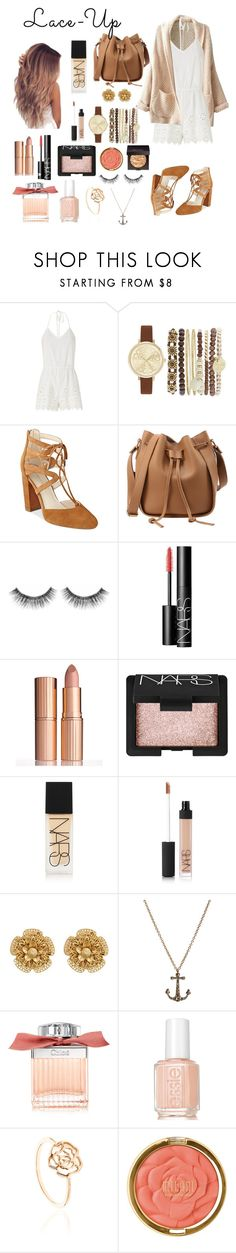 """""""Lace it up"""" by patriciaaa02 ❤ liked on Polyvore featuring Miguelina, Jessica Carlyle, Marc Fisher, Sephora Collection, NARS Cosmetics, Charlotte Tilbury, Miriam Haskell, Annoushka, Chloé and Essie"""
