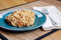 Rotel Chicken Spaghetti-Ingredients3boneless, skinless chicken breasts (or rotisserie chicken)1 can (10.75 oz.) cream of chicken soup1 can (10 oz.) diced tomatoes with green chilis1 clove garlic, minced 1/2 tsp. onion po...