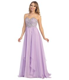 2014 Prom Dresses - Lilac Chiffon & Beaded Filigree Strapless Gown - Unique Vintage - Prom dresses, retro dresses, retro swimsuits.