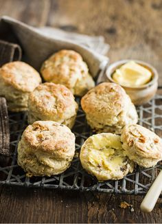 Walnut and roquefort scones - though I'll have to switch out the walnuts, being allergic and all.