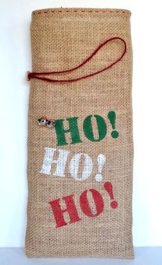 Wine Bottle Gift Bag Burlap with Holiday Stencil by SnowboundMe