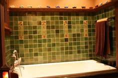 Arts & Crafts backsplash, but it must be ginko. I can't explain it, it just HAS to be a ginko pattern. Craftsman Bathroom, Craftsman Kitchen, Craftsman Style Homes, Bungalow Bathroom, Bathroom Tile Designs, Bathrooms Decor, Bathroom Stuff, Vintage Bathrooms, Downstairs Bathroom