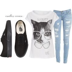 7286ac40c9 Smart cat t-shirt and black vans outift
