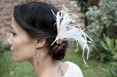 Bridal feather hairpiece, bridesmaids hairpiece, vintage romance