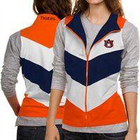 Auburn Tigers Ladies Navy Blue-White-Orange #Chevron Full Zip Vest!