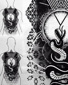 Project for a back-piece. If you are interested, mail me! #shabara #dotwork #ornamental #pattern #snake #tattoo