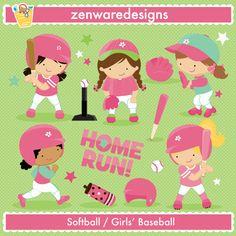 Girls' Baseball / Softball - Illustrations & Cliparts - Girls' Baseball / Softball - MYGRAFICO - DIGITAL ARTS AND CRAFTS STORE