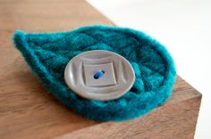 Turquoise Needle Felted Brooch with Vintage button by ArtemisandFoxCo, $14.00