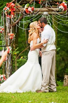 Beads and bouquets add elegance to a rustic chuppah - learn how to repurpose it after the ceremony