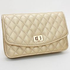 Quilted Diamond Pattern Leather Clutch Bag / 223275
