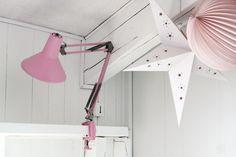 kids room, diy, lamp, vintage lamp, pompon, pink, girl,vintage