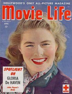 "Ingrid Bergman on the cover of ""Movie Life"" magazine, USA, April 1945."
