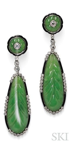 Platinum, Nephrite, and Diamond Earpendants, each with carved nephrite leaf with full-cut diamond melee and black enamel accents, lg. Art Deco Earrings, Jewellery Earrings, Jade Jewelry, Art Deco Jewelry, Gemstone Jewelry, Vintage Jewelry, Unusual Jewelry, Art Deco Design, Gems And Minerals