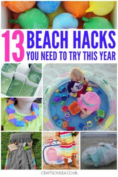 These parenting hacks for trips to the beach are the best! Make your summer simpler, stress free and much more fun with these great ideas. Summer Activities For Kids, Summer Kids, Learning Activities, Games For Kids, Crafts For Kids, Toddler Activities, Summer Beach, Outdoor Activities, Beach Activities
